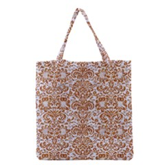 Damask2 White Marble & Rusted Metal (r) Grocery Tote Bag by trendistuff