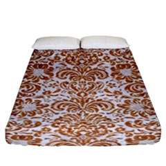 Damask2 White Marble & Rusted Metal (r) Fitted Sheet (king Size) by trendistuff