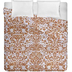 Damask2 White Marble & Rusted Metal (r) Duvet Cover Double Side (king Size) by trendistuff