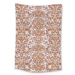 Damask2 White Marble & Rusted Metal (r) Large Tapestry by trendistuff