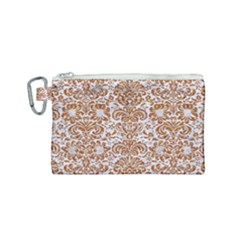 Damask2 White Marble & Rusted Metal (r) Canvas Cosmetic Bag (small) by trendistuff