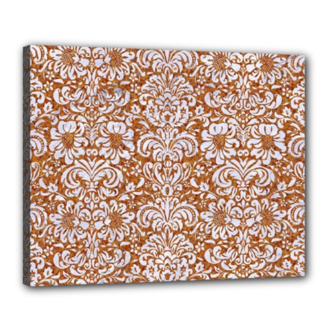 Damask2 White Marble & Rusted Metal Canvas 20  X 16  by trendistuff