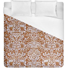 Damask2 White Marble & Rusted Metal Duvet Cover (king Size) by trendistuff