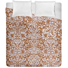 Damask2 White Marble & Rusted Metal Duvet Cover Double Side (california King Size) by trendistuff