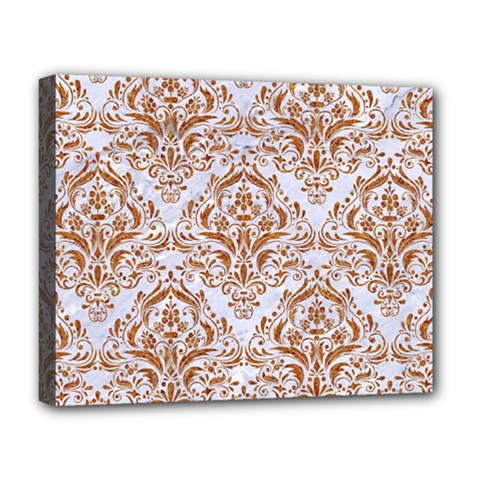 Damask1 White Marble & Rusted Metal (r) Deluxe Canvas 20  X 16   by trendistuff