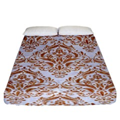 Damask1 White Marble & Rusted Metal (r) Fitted Sheet (king Size) by trendistuff