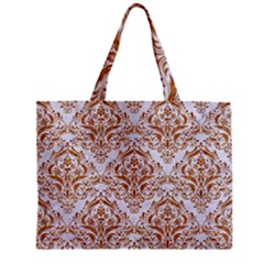 Damask1 White Marble & Rusted Metal (r) Zipper Mini Tote Bag by trendistuff
