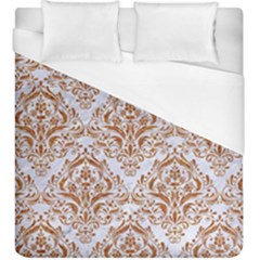 Damask1 White Marble & Rusted Metal (r) Duvet Cover (king Size) by trendistuff