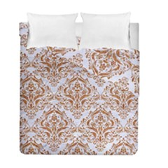 Damask1 White Marble & Rusted Metal (r) Duvet Cover Double Side (full/ Double Size) by trendistuff
