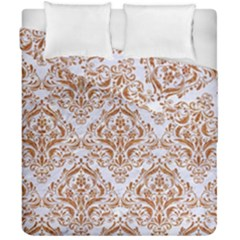 Damask1 White Marble & Rusted Metal (r) Duvet Cover Double Side (california King Size) by trendistuff