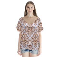 Damask1 White Marble & Rusted Metal (r) V Neck Flutter Sleeve Top by trendistuff