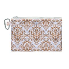 Damask1 White Marble & Rusted Metal (r) Canvas Cosmetic Bag (large)
