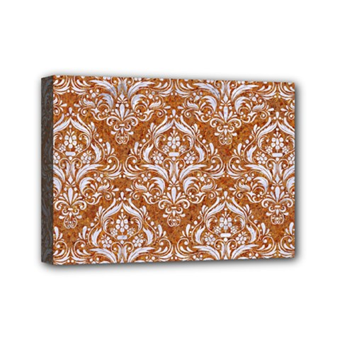 Damask1 White Marble & Rusted Metal Mini Canvas 7  X 5  by trendistuff