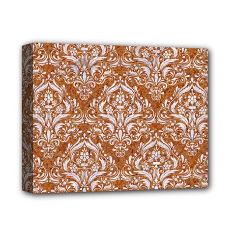 Damask1 White Marble & Rusted Metal Deluxe Canvas 14  X 11  by trendistuff