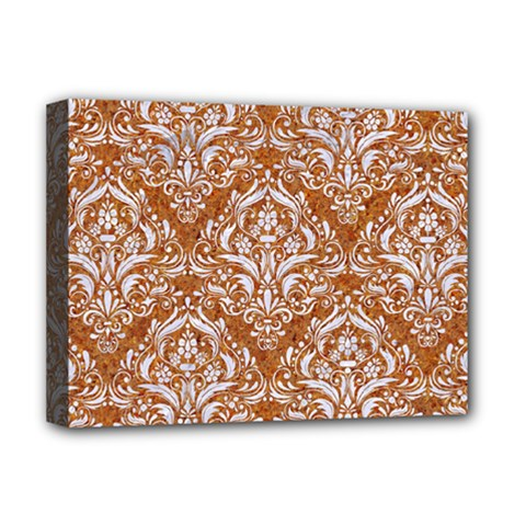 Damask1 White Marble & Rusted Metal Deluxe Canvas 16  X 12   by trendistuff