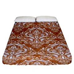 Damask1 White Marble & Rusted Metal Fitted Sheet (king Size) by trendistuff