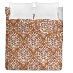 Damask1 White Marble & Rusted Metal Duvet Cover Double Side (queen Size) by trendistuff