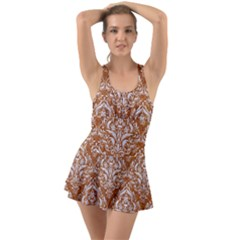 Damask1 White Marble & Rusted Metal Swimsuit