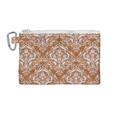 Damask1 White Marble & Rusted Metal Canvas Cosmetic Bag (medium) by trendistuff