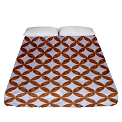 Circles3 White Marble & Rusted Metal (r) Fitted Sheet (queen Size) by trendistuff