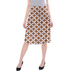 Circles3 White Marble & Rusted Metal Midi Beach Skirt
