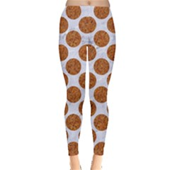 Circles2 White Marble & Rusted Metal (r) Leggings  by trendistuff