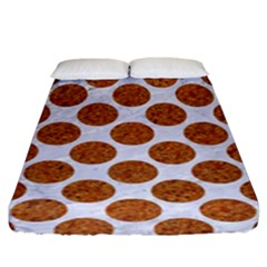 Circles2 White Marble & Rusted Metal (r) Fitted Sheet (king Size) by trendistuff