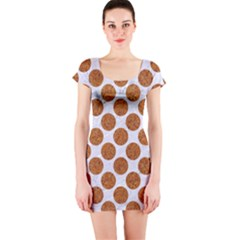 Circles2 White Marble & Rusted Metal (r) Short Sleeve Bodycon Dress by trendistuff