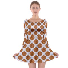 Circles2 White Marble & Rusted Metal (r) Long Sleeve Skater Dress by trendistuff