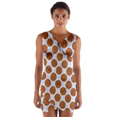 Circles2 White Marble & Rusted Metal (r) Wrap Front Bodycon Dress by trendistuff