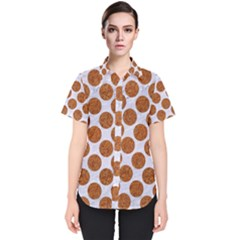 Circles2 White Marble & Rusted Metal (r) Women s Short Sleeve Shirt by trendistuff