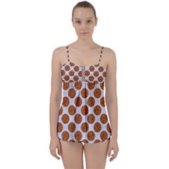 Circles2 White Marble & Rusted Metal (r) Babydoll Tankini Set by trendistuff