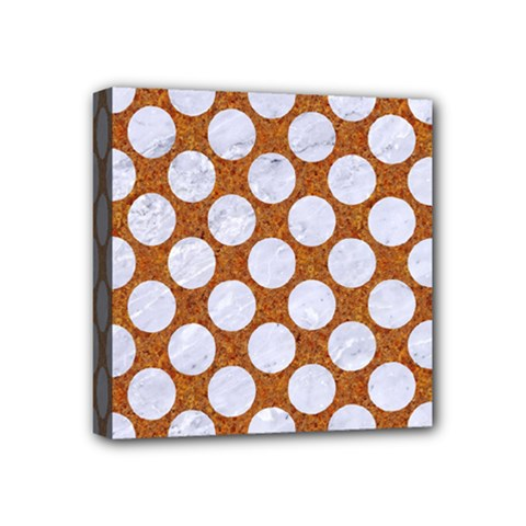 Circles2 White Marble & Rusted Metal Mini Canvas 4  X 4  by trendistuff