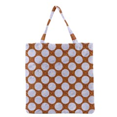 Circles2 White Marble & Rusted Metal Grocery Tote Bag by trendistuff