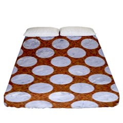 Circles2 White Marble & Rusted Metal Fitted Sheet (king Size) by trendistuff