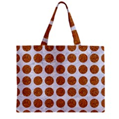 Circles1 White Marble & Rusted Metal (r) Zipper Mini Tote Bag by trendistuff