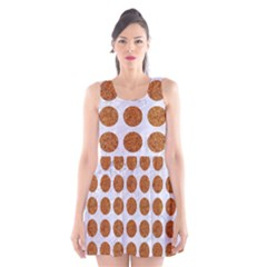 Circles1 White Marble & Rusted Metal (r) Scoop Neck Skater Dress by trendistuff