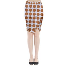 Circles1 White Marble & Rusted Metal (r) Midi Wrap Pencil Skirt by trendistuff