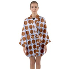 Circles1 White Marble & Rusted Metal (r) Long Sleeve Kimono Robe