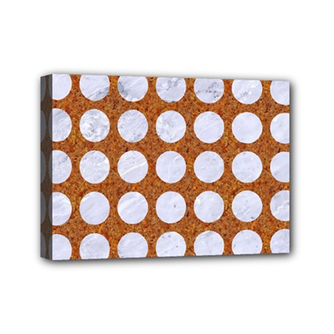 Circles1 White Marble & Rusted Metal Mini Canvas 7  X 5  by trendistuff