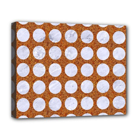 Circles1 White Marble & Rusted Metal Deluxe Canvas 20  X 16   by trendistuff
