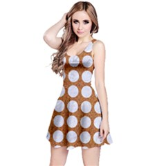 Circles1 White Marble & Rusted Metal Reversible Sleeveless Dress by trendistuff