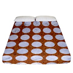 Circles1 White Marble & Rusted Metal Fitted Sheet (california King Size) by trendistuff