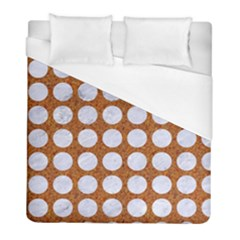 Circles1 White Marble & Rusted Metal Duvet Cover (full/ Double Size)