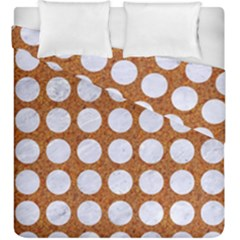 Circles1 White Marble & Rusted Metal Duvet Cover Double Side (king Size) by trendistuff