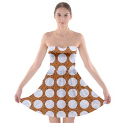 Circles1 White Marble & Rusted Metal Strapless Bra Top Dress by trendistuff