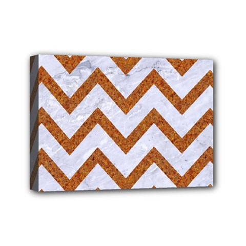 Chevron9 White Marble & Rusted Metal (r) Mini Canvas 7  X 5  by trendistuff