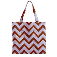 Chevron9 White Marble & Rusted Metal (r) Zipper Grocery Tote Bag by trendistuff