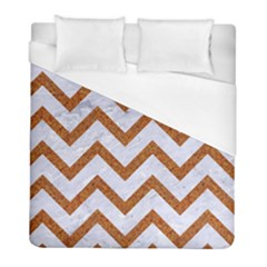 Chevron9 White Marble & Rusted Metal (r) Duvet Cover (full/ Double Size) by trendistuff