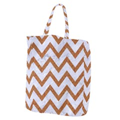 Chevron9 White Marble & Rusted Metal (r) Giant Grocery Zipper Tote by trendistuff